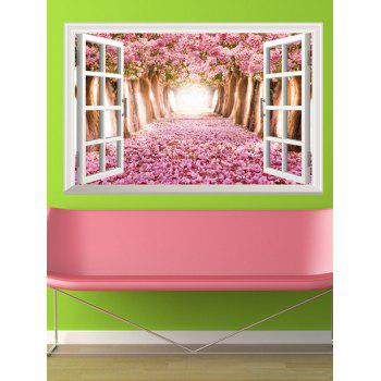 3D Floral Window Design Home Decor Removable Wall Stickers - PINK