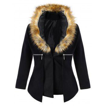 Plus Size Faux Fur Collar Zippered Coat