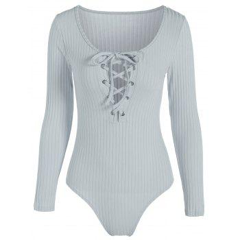 Long Sleeve Spandex Scoop Neck Lace Up Ribbed Bodysuit