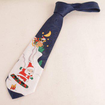 Christmas Night View Print Neck Tie