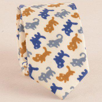 Cartoon Cat Print Tie Bowtie and Handkerchief - BEIGE