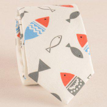 Cartoon Fish Doodle Print Tie Bowtie and Handkerchief - OFF WHITE