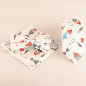 Cartoon Fish Doodle Print Tie Bowtie and Handkerchief - OFF-WHITE OFF WHITE