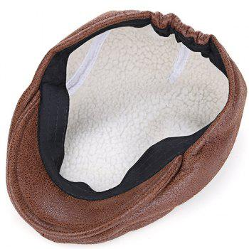 PU Leather Thicken Newsboy Cap - LIGHT COFFEE