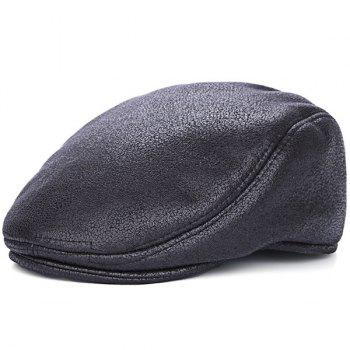 PU Leather Thicken Newsboy Cap
