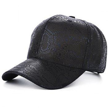 PU Leather Snake Skin Print Baseball Hat