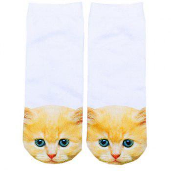 3D Ginger Cat Head Print Crazy Socks - WHITE WHITE