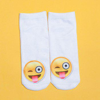 3D Naughty Face Print Emoji Socks - WHITE WHITE