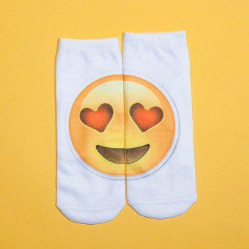 3D Heart Shaped Eyes Big Face Print Emoji Socks