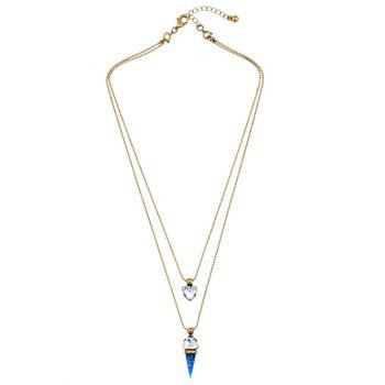 Artificial Gem Triangle Layered Necklace