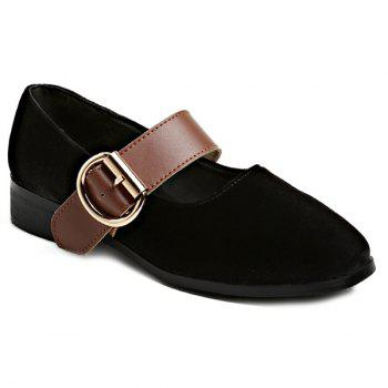 Square Toe Buckle Strap Velvet Flat Shoes