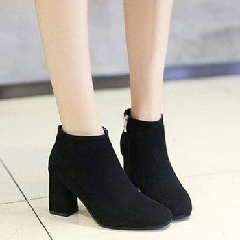 Zipper Suede Square Toe Ankle Boots - BLACK BLACK
