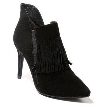 Suede Elastic Fringe Ankle Boots