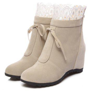 Tie Up Lace Hidden Wedge Ankle Boots - APRICOT 39