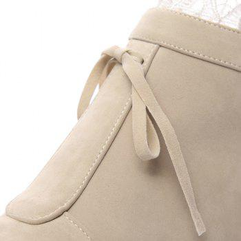 Tie Up Lace Hidden Wedge Ankle Boots - 39 39