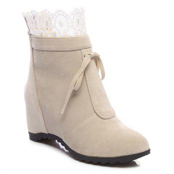 Tie Up Lace Hidden Wedge Ankle Boots - APRICOT APRICOT