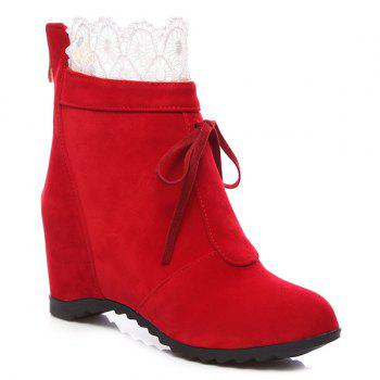 Tie Up Lace Hidden Wedge Ankle Boots