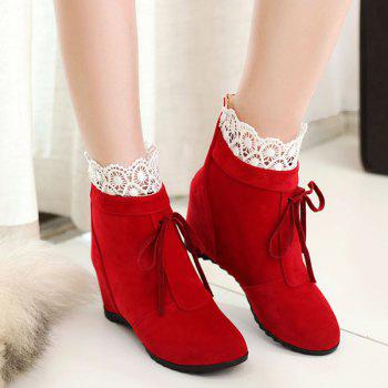 Tie Up Lace Hidden Wedge Ankle Boots - RED RED