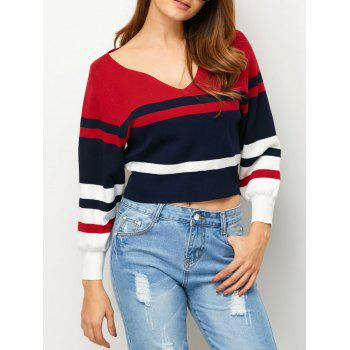 V Neck Colored Stripe Cropped Sweater