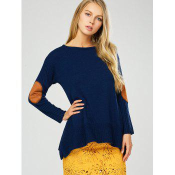 Elbow Patch Asymmetric Pullover Sweater