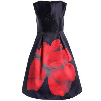 Flower Sleeveless High Waisted Dress