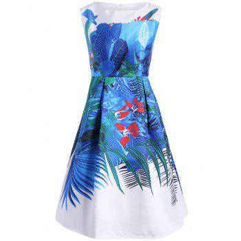Ruched Printed Sleeveless A Line Dress