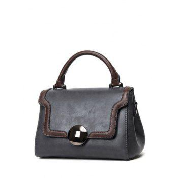 Flapped PU Leather Color Panel Handbag
