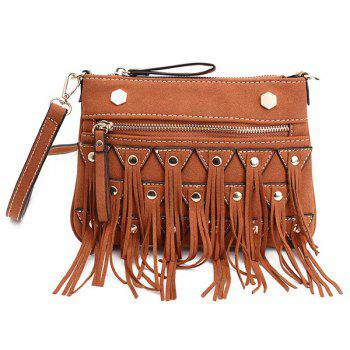 Rivet Fringe Suede Crossbody Bag