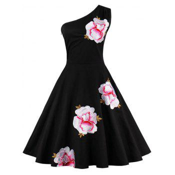 One Shoulder Embroidered Cute Skater Dress