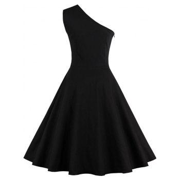 One Shoulder Embroidered Cute Swing Skater Dress - BLACK M