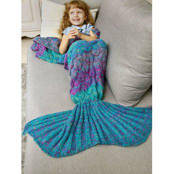 Kids Sleeping Bag Knitted Fish Scales Mermaid Blanket - COLORMIX