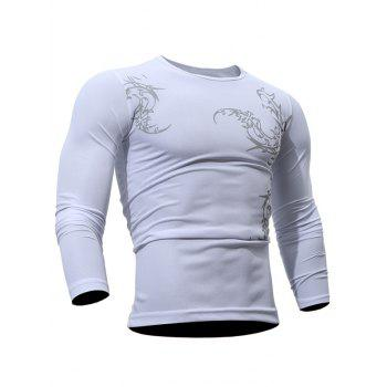 Round Neck Tattoo Print Breathable T-Shirt - WHITE L