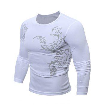 Buy Round Neck Tattoo Print Breathable T-Shirt WHITE