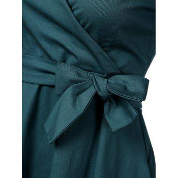 Vintage Plunge Work Wrap Swing A Line Dress - BLACKISH GREEN BLACKISH GREEN