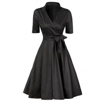 V  Neck Vintage Low Cut Wrap Dress With Short Sleeves