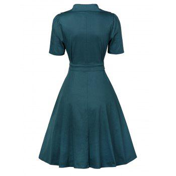 Vintage Plunge Work Wrap Swing A Line Dress - BLACKISH GREEN L