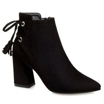 Buy Tassels Lace Ankle Boots BLACK
