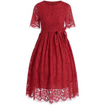 Midi Lace A Line Dress with Belt