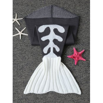Fish Bone Crochet Knit Mermaid Blanket Throw For Baby -  BLACK