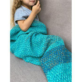 Winter Thicken Longer Color Block Design Knitted Wrap Kids Mermaid Tail Blanket - TURQUOISE