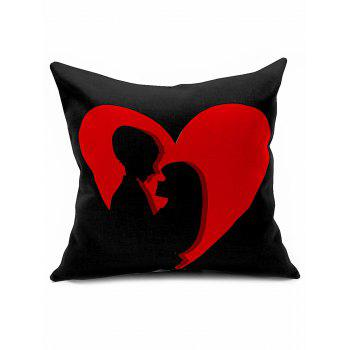 Lovers Heart Print Linen Cushion Throw Pillowcase