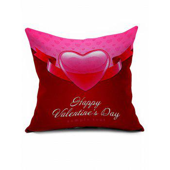 Heart Print Valentine Gift Linen Throw Pillowcase