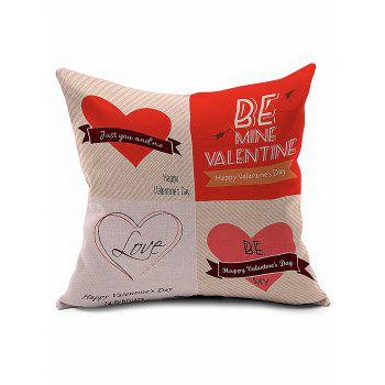 Valentine Love Heart Linen Cushion Cover Throw Pillowcase