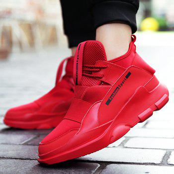 Lace Up Stretch Fabric Athetic Shoes - RED 43