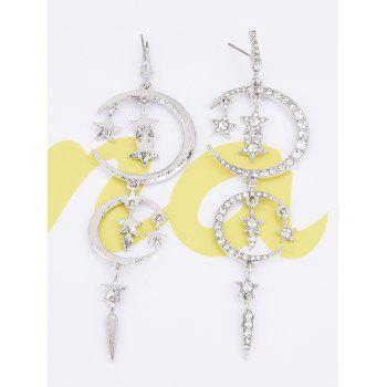 Rhinestoned Stars Moon Drop Earrings - SILVER