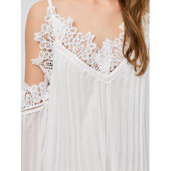 Long Sleeve Pleated Cold Shoulder Cocktail Dress - WHITE M