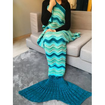 Hollow Out Wave Striped Crochet Knit Mermaid Blanket Throw - COLORMIX