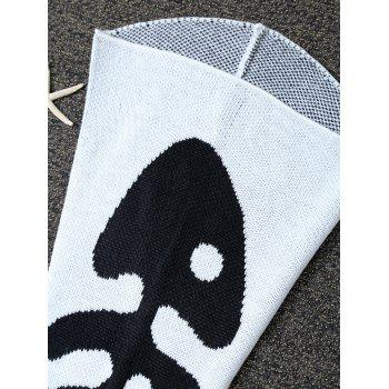 Fish Bone Crochet Knit Mermaid Blanket Throw For Baby - WHITE
