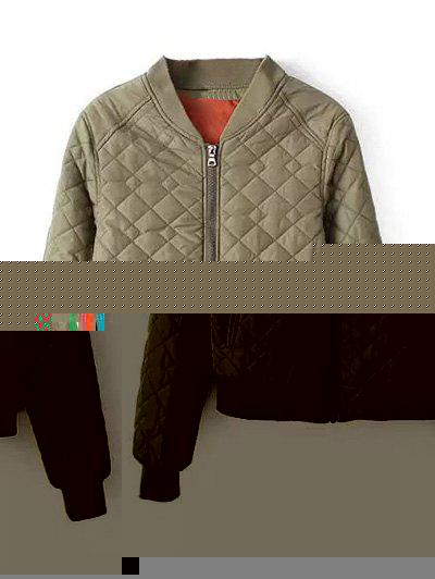 Zipper Quilted Bomber JacketWomen<br><br><br>Size: S<br>Color: ARMY GREEN
