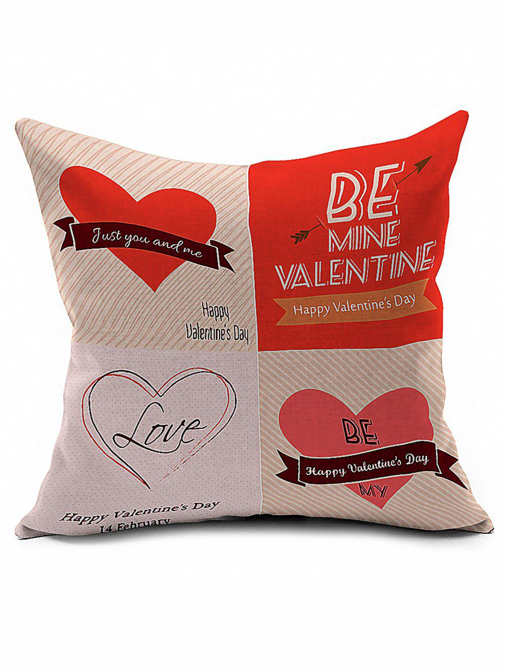 Valentine Love Heart Linen Cushion Cover Throw Pillowcase 8x10ft valentine s day photography pink love heart shape adult portrait backdrop d 7324